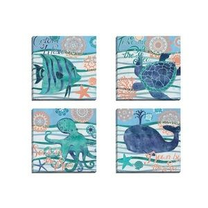 Other - 🐳🦀🐠 (Set of 4)Seaside Canvass Art by Paul Brent